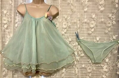 VTG Aqua SHEER TRIPLE LAYERS Babydoll Nightie Nightgown Panties Set S M