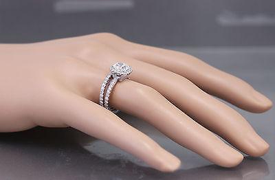 GIA G-VS2 18k White Gold Cushion Cut Diamond Engagement Ring And Band Halo 2.30c 10