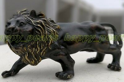 Ancient Bronze Old Antique Foo dog Statue figurine Lion