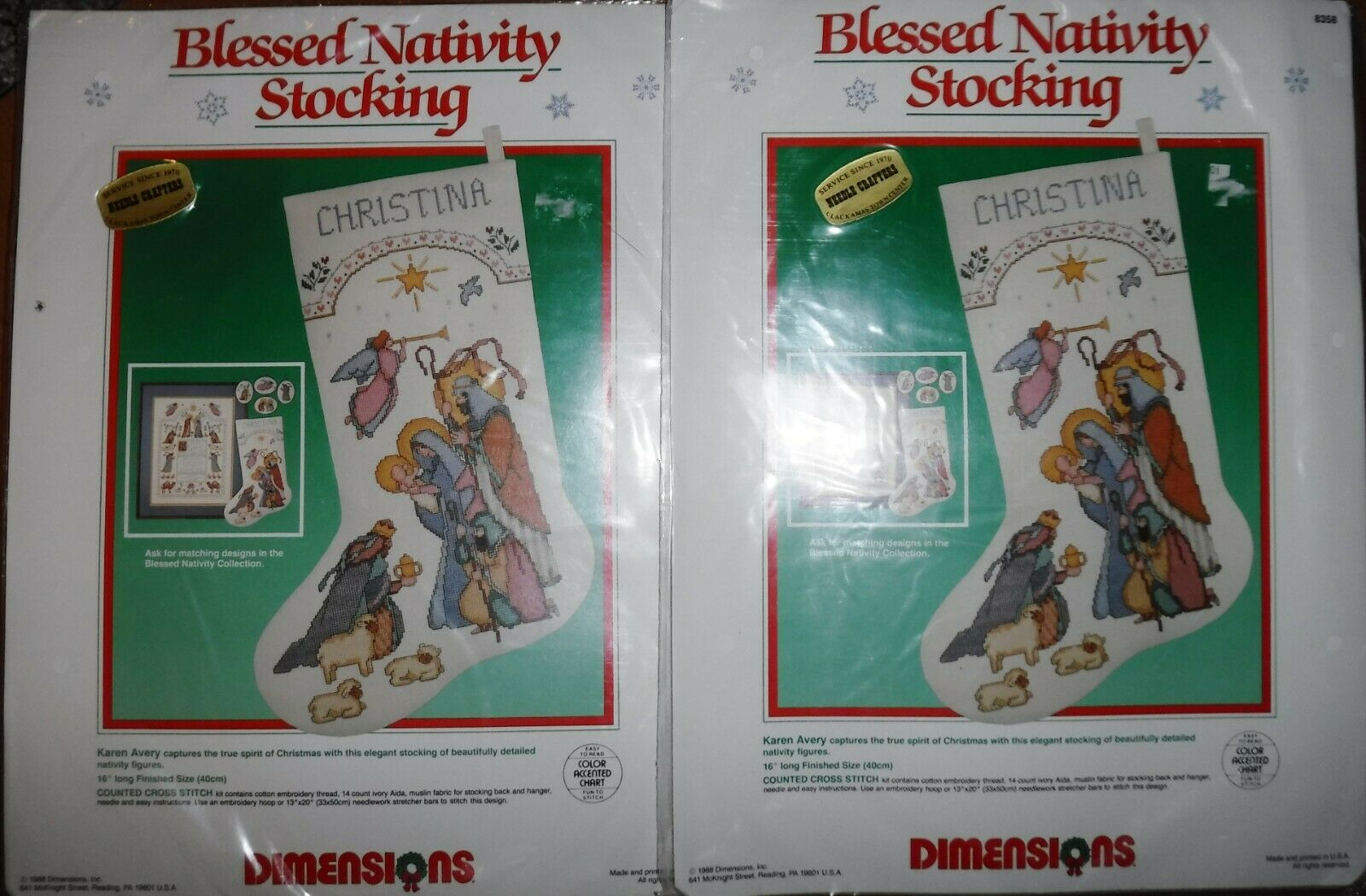 2 NEW Vtg. DIMENSIONS Blessed Nativity Christmas Stocking Cr