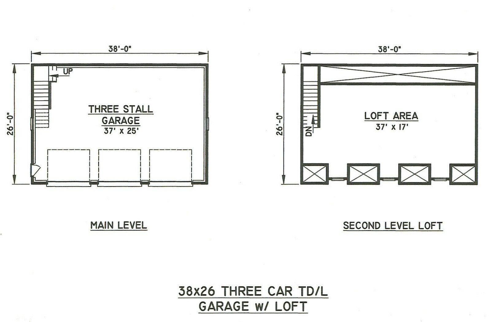 38x26 3 car triple front dormers garage building blueprint Triple car garage house plans