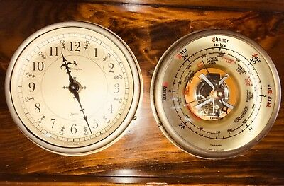 Vintage Carrington Wall Barometer Clock Set Nautical Coastal ~England