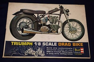 1964 Revell Triumph 1/8 Scale Drag Bike Motorcycle Kit complete in box