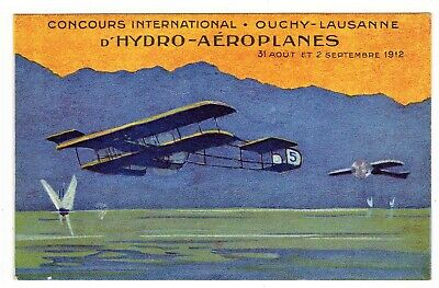 POSTCARD SWISS 1912 AVIATION HYDRO-PLANE CONCOURS OUCHY-LAUSANNE (SB)