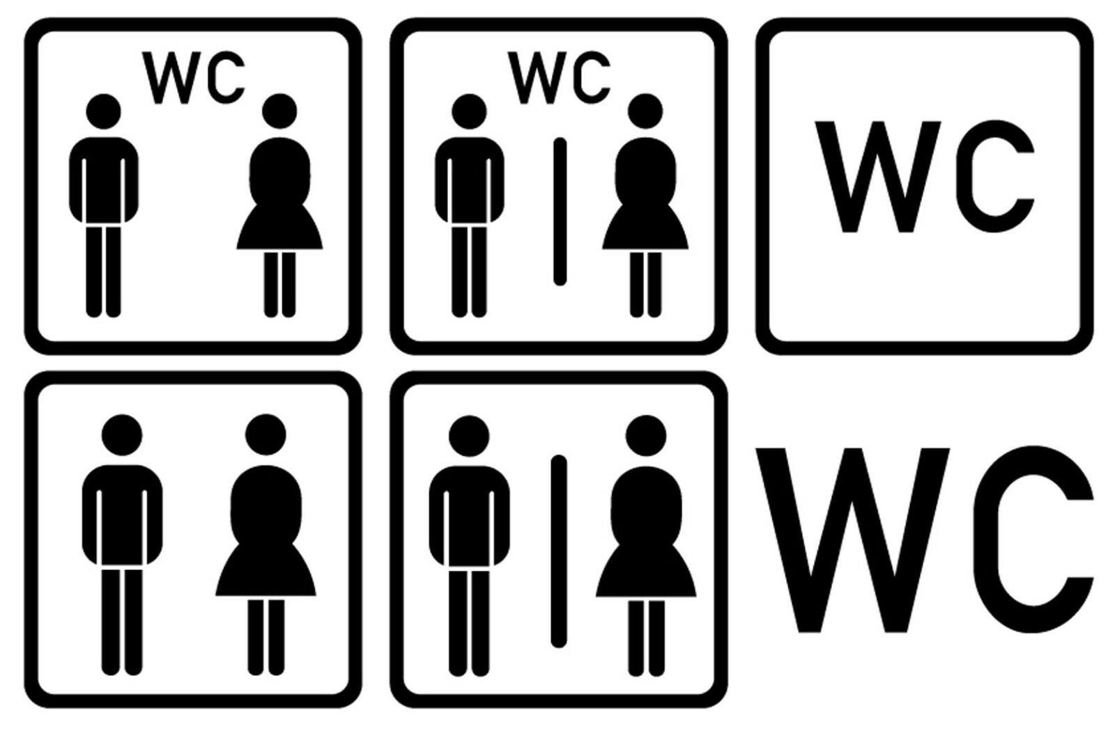 WC Tür Aufkleber- Wandtattoo Sticker versch. Farben V1