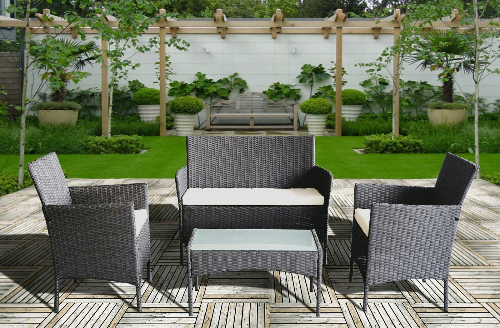 Garden Furniture - Rattan Garden Furniture Set 4 Piece Chairs Table for Patio Outdoor Conservatory