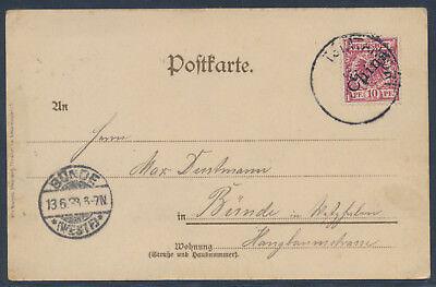 Kiautschou 10 Pfennig Adler Tsintanfort auf AK Gruß aus Kiau-Tschau 1898 (S15330
