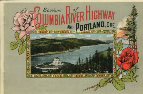 c1920-1929 Columbia River Highway, Portland OR Souvenir Hand Colored Photo Book