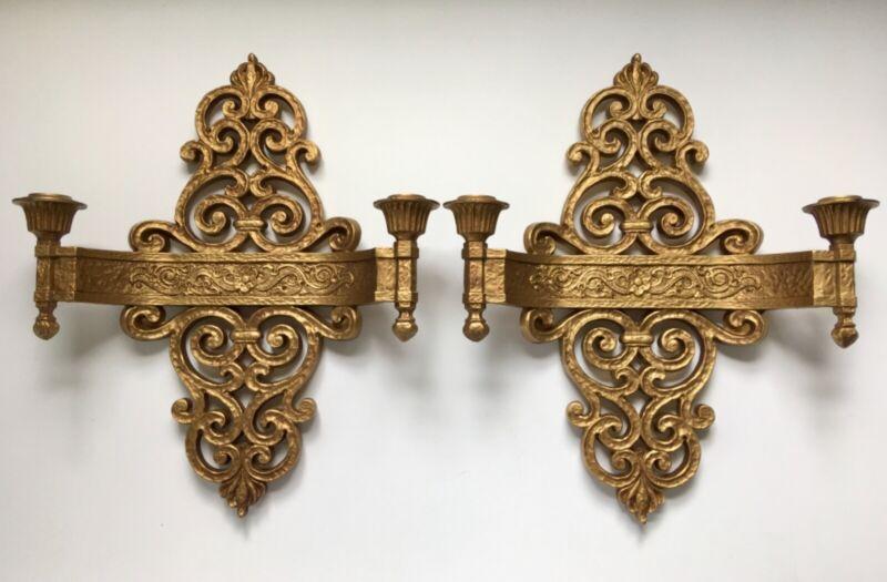 Vintage Hollywood Regency Gold Resin Wall Sconces Candle Holders Dart Ind. 4070
