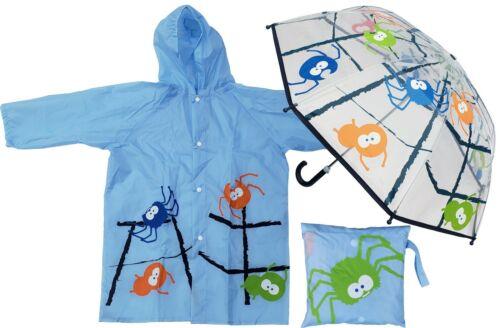 Spider Print Clear Umbrella + Raincoat Set - RainStoppers Children Kid Boy