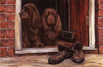 "SUSSEX SPANIEL GUN DOG FINE ART LIMITED EDITION PRINT - ""Door Steppers"""