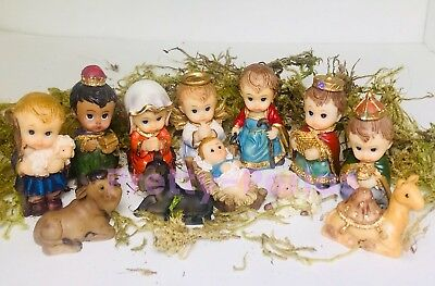 Christmas Nativity Set Scene Figures Cartoon Figurines Baby Jesus-12-PIECE SET - Child Nativity Set