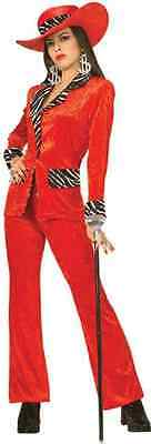 Girl Pimp Costume (Uptown Girl Pimp Ho Red Zebra Suit Fancy Dress Up Halloween Sexy Adult)