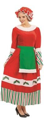 Ladies Traditional Mrs Claus Christmas Festive Fancy Dress Costume Outfit 8-26