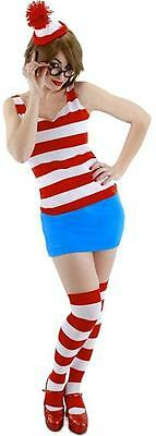 Wenda Where's Waldo Striped Fancy Dress Up Halloween Sexy Adult Costume (Halloween Costumes Waldo)