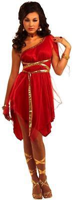 Ruby Red Goddess Greek Roman Toga Fancy Dress Halloween Sexy Adult - Red Toga Kostüm