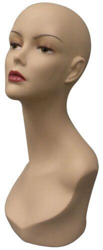 Female Adult Fiberglass Realistic Fleshtone Mannequin Head Display