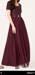 Dark Maroon Sequin & Mesh bodice Jersey DRESS with Necklace Set