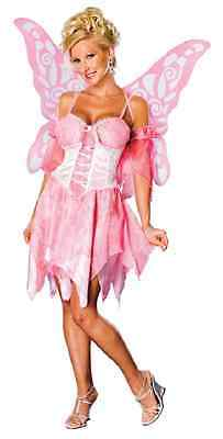 Sugar Plum Fairy Pixie Pink Fancy Dress Halloween Sexy Adult Costume w/Wings - Sugar Plum Fairy Dress