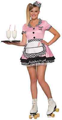 Trixie Sue 50's Car Hop Soda Shop Diner Waitress Sock Halloween Adult Costume](50's Diner Waitress Halloween Costume)