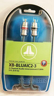 NEW JL AUDIO XB-BLUAIC2-3 2-CHANNEL BLUE RCA CAR AUDIO INTERCONNECT CABLES 3 FT