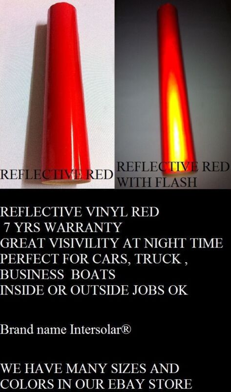 """24"""" x 10 ft  RED  Reflective Vinyl Adhesive Cutter Sign Hight Reflectivity"""