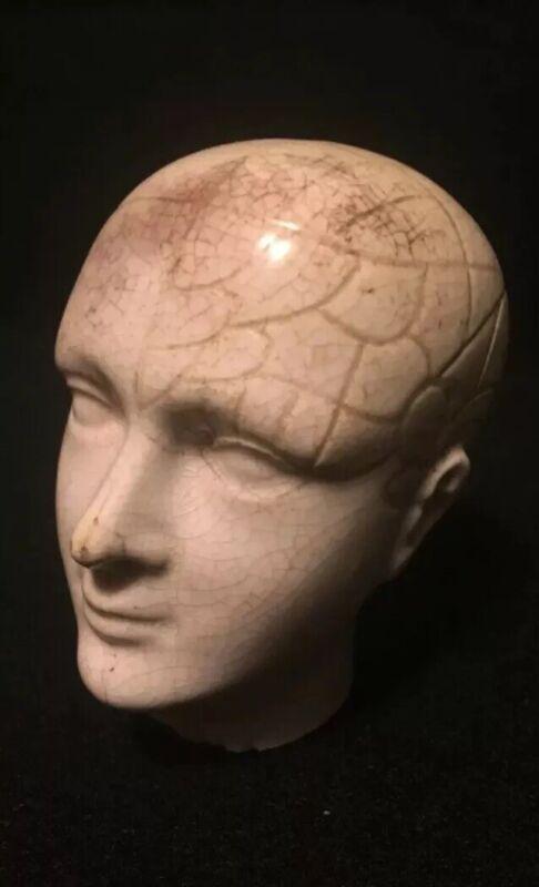 ANTIQUE PHRENOLOGY HEAD POSSIBLY CANE TOP QUACK MEDICINE QUACKERY ODDITY CURIO