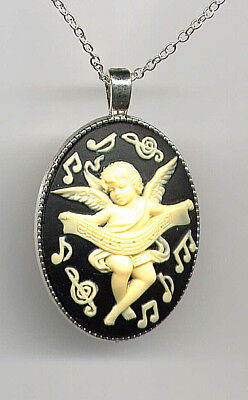 GUARDIAN ANGEL CUPID Cherub MUSIC Notes Ivory Wing CAMEO Necklace Antique Silver - Guardian Angel Music
