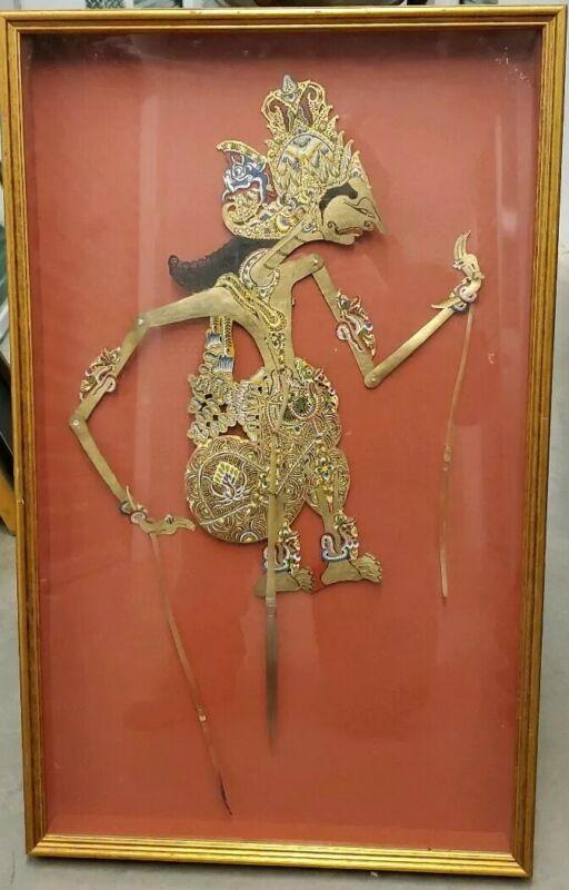 VINTAGE INDONESIAN SHADOW PUPPET 100% HANDCRAFTED UNIQUE WAYANG KULIT FINE ART