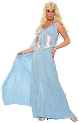 Khaleesi Dress Costume (Elegant Queen Game Thrones Khaleesi Blue Fancy Dress Up Halloween Adult)