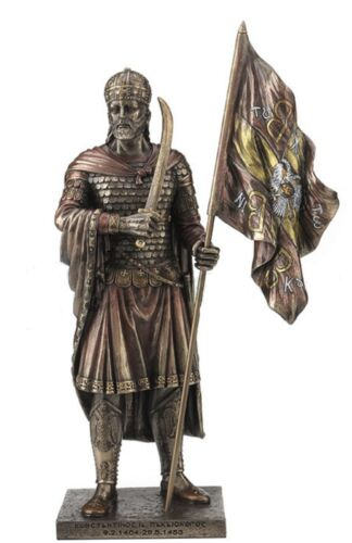 """12.5"""" Constantine XI Palaiologos Holding Flag of Byzantine Empire Statue"""