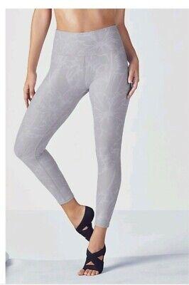 fabletics salar bloomfield floral capri gym leggings pants grey M 10 12 NEW