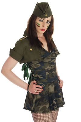 Ladies Special Forces sexy Army camo Khaki dressing up costume adult Soldier
