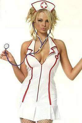 Heißes kurzes Krankenschwester Kostüm Set weiß-rot ()