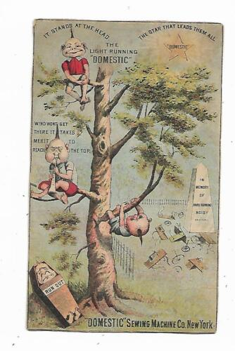 Trade Card Domestic Sewing Machine New York Cemetery Head Stones Chinamen Tree