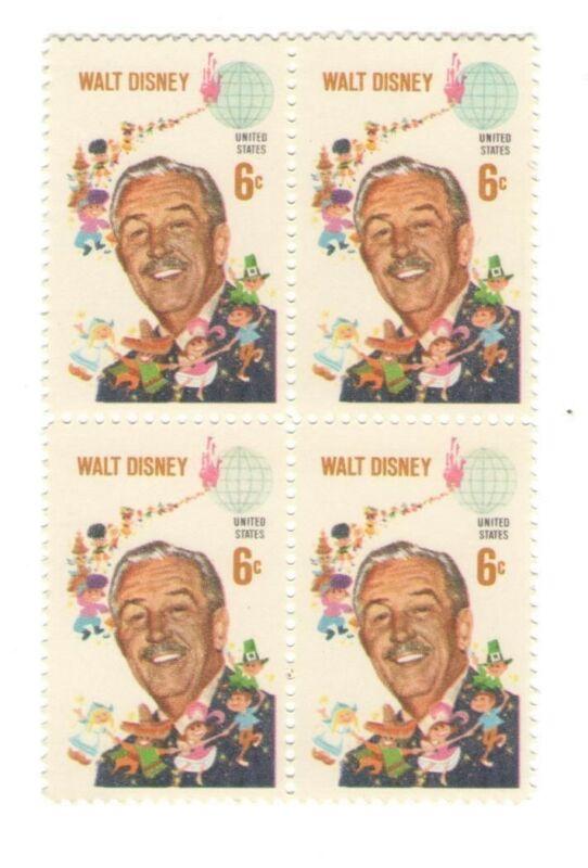 Walt Disney Disneyland Its a Small World on 53 Year Old Mint Stamp Block 1968
