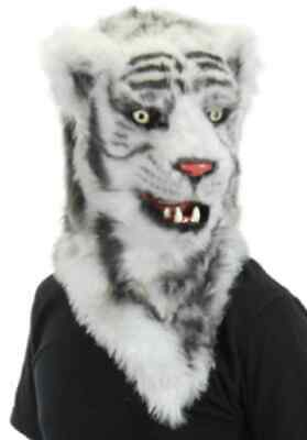 White Tiger Mask Mouth Mover Animal Fancy Dress Up Halloween Costume Accessory - White Tiger Mask