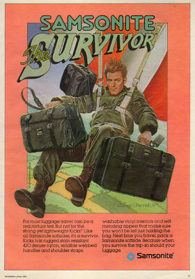 1983 vintage AD SAMSONITE 'the Survivor Luggage , Art Parachute with it!  011918