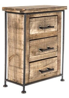 Rustic Wood Floor Cabinet/Cupboard with 3 Drawers Bathroom Kitchen Storage