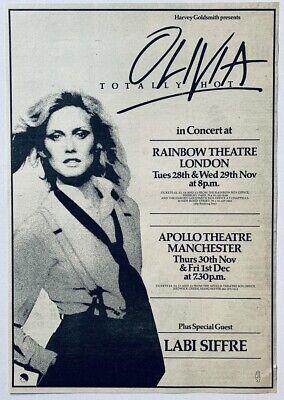 OLIVIA NEWTON-JOHN vintage 1978 POSTER ADVERT UK CONCERT TOUR