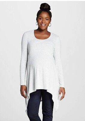 Liz Lange Maternity Long Sleeve Size XL  top Handkerchief Tunic Gray New