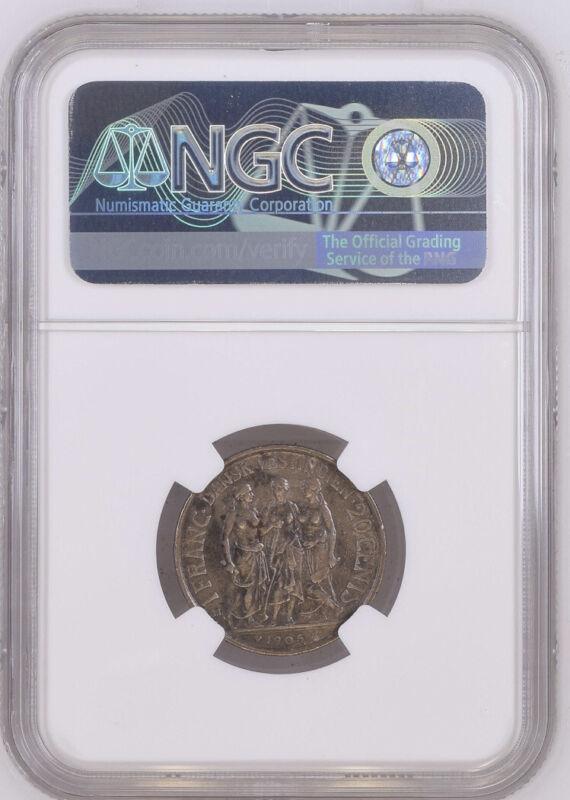 RARE! 1905 Danish West Indies Silver 1 Franc 20 Cents Three Women NGC AU DET