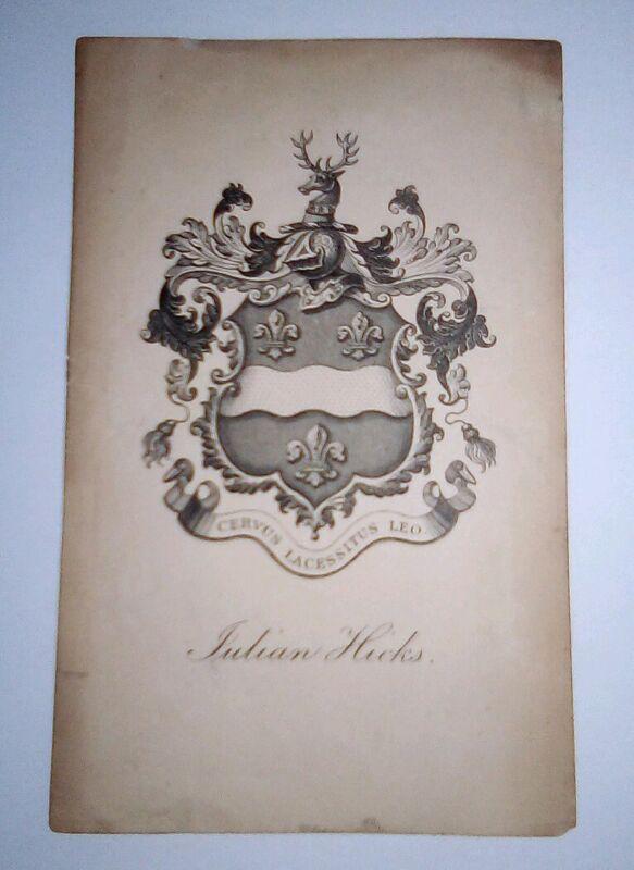 Antique English Armorial Book Plate Julian Hicks Cervus Lacessitus Leo Ex Libris