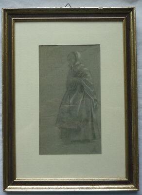 GRISAILLE vor 1945 Frau in Tracht Rahmen ca. 30 x 41 cm