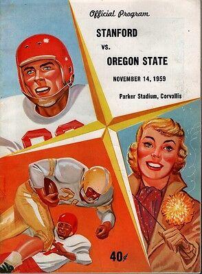 1959 OREGON STATE BEAVERS vs STANFORD FOOTBALL PROGRAM