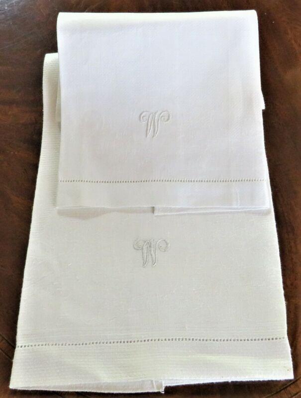 """2 ANTIQUE VINTAGE """"W"""" INITIAL WHITE LINEN HAND TOWELS EXCELLENT CONDITION"""