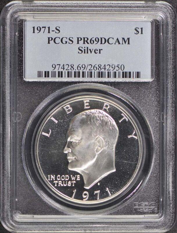 1971-S $1 Silver Ike Dollar Silver PCGS PR69DCAM