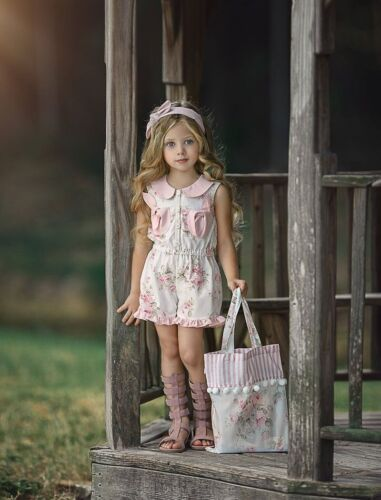 NEW Dollcake Alisha Romper Pink White Floral w Bows  Flower Girls sz 3