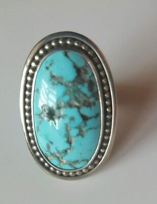 Turquoise Sterling Silver Ring Vintage Native American Navajo Kingman Turquoise Sterling Silver Ring Signed Size 8 34