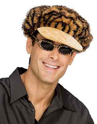 Tiger Print 70's Disco Pimp Hat & Sunglasses Halloween Adult Costume Accessory